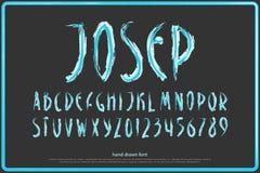 Hand gezeichnete Alphabetbuchstaben und -zahlen Vektorbürste, Gussart Stockbilder