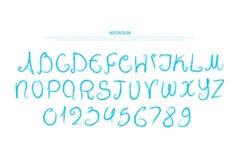 Hand gezeichnete Alphabetbuchstaben und -zahlen Watercolour, Gussart Stockfotografie