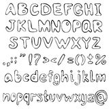 Hand gezeichnete Alphabetzeichen Vektor Lizenzfreie Stockfotos