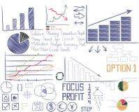 Hand gezeichnete analytische Elemente der Geschäfte Lizenzfreies Stockbild