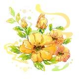 Hand gezeichnete Aquarell-Blume Lizenzfreies Stockbild