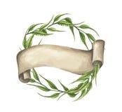 Hand gezeichnete Aquarellillustration grüne Blätter winden mit Band lizenzfreie stockfotos