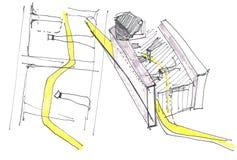 Hand gezeichnete Architekturskizze für moderne Architektur Stockbilder