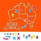 Hand gezeichnete Australien-Reisekarte mit Stiftvektor Lizenzfreie Stockfotos