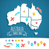 Hand gezeichnete Australien-Reisekarte mit Stiftvektor Stockfoto