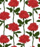 Hand gezeichnete blühende Rosen Nahtloses Muster mit roten Rosen Auch im corel abgehobenen Betrag Stockfotografie