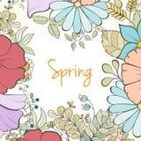 Hand gezeichnete Blumeneinladungskarte Stockfotos