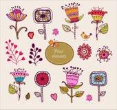 Hand gezeichnete Blumenelemente. Satz Blumen. Stockbild