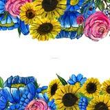 Hand gezeichnete Blumengrenze Lizenzfreies Stockfoto