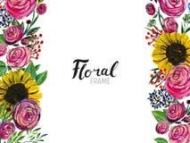 Hand gezeichnete Blumengrenze Lizenzfreie Stockfotos