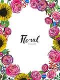 Hand gezeichnete Blumengrenze Stockbild
