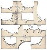 Hand gezeichnete Comic-Buch-Seiten-Schablone Stockbild