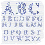 Hand gezeichnete dekorative Buchstaben des englischen Alphabetes Lizenzfreies Stockbild