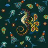 Hand gezeichnete dekorative Meerjungfrau, Seepferdchen Lizenzfreie Stockfotos