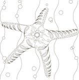 Hand gezeichnete dekorative Schwarzweiss-starfish Lizenzfreie Stockbilder