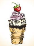 Hand gezeichnete Eiscreme Lizenzfreies Stockfoto