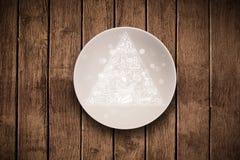 Hand gezeichnete Ernährungspyramide auf bunter Tellerplatte Stockbild