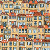 Hand gezeichnete europäische Stadt bringt nahtloses Muster unter Nette Karikaturart-Vektorillustration Buntes modernes Stadtwohnu stock abbildung