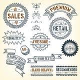 Hand gezeichnete Fahnen, Preise und Rahmen Stockfoto