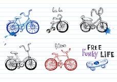 Hand gezeichnete Fahrräder Stockbilder