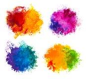 Hand gezeichnete Farbe spritzt lokalisiert auf Weiß Stockbilder