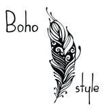 Hand gezeichnete Federn Tintenvektorillustration Boho-Artgestaltungselemente ethnische kreative Gekritzel Lokalisiert auf Weiß Stockfoto