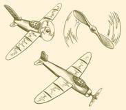 Hand gezeichnete Flugzeuge im Himmel Lizenzfreies Stockfoto