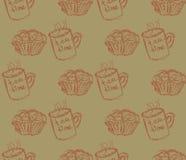 Hand gezeichnete Frühstücksillustration Vector nahtloses Muster Stockbild