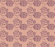 Hand gezeichnete Frühstücksillustration Vector nahtloses Muster Lizenzfreies Stockbild