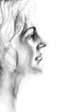 Hand gezeichnete Frau im Gedanken Stockfotografie