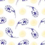 Hand gezeichnete Garnelen und nahtloses Muster der Zitrone Stockfotografie