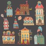 Hand gezeichnete Gebäude in der Weinleseart Lizenzfreies Stockfoto