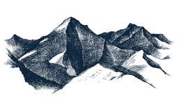 Hand gezeichnete Gebirgsvektorillustration Stockfotos