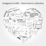 Hand gezeichnete Gegenstände Stockfotografie