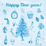 Hand gezeichnete Gekritzel guten Rutsch ins Neue Jahr-Illustration Blaue Bilder, hellblauer Aquarellhintergrund Stock Abbildung