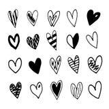 Hand gezeichnete Gekritzel-Herzen eingestellt Vektorabbildung auf weißem Hintergrund Stockbilder