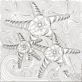 Hand gezeichnete Gekritzel Starfish auf Wellen Stockbild
