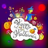 Hand gezeichnete Gekritzelhalloween-Grußkarte mit der Hexe, das p Stockfoto