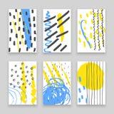 Hand gezeichnete Gekritzelkarten mit abstrakten Tintenmustern Stockbilder
