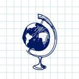 Hand gezeichnete Gekritzelkugel Blauer Stiftentwurf, Notizbuchhintergrund Geografie, Schule, Bildung Lizenzfreie Stockfotografie