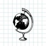 Hand gezeichnete Gekritzelkugel Schwarzer Entwurf, Notizbuchhintergrund Geografie, Schule, Bildung Lizenzfreies Stockfoto