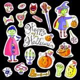 Hand gezeichnete Gekritzelsammlung Halloween-Elemente: Klagen, Holzkohle Stockbilder