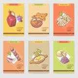 Hand gezeichnete georgische Lebensmittel-Broschüren-Schablone Georgia Traditional Cuisine mit Mehlkloß und Khinkali stock abbildung