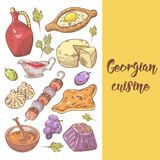 Hand gezeichnete georgische Lebensmittel-Menü-Abdeckung Georgia Traditional Cuisine mit Mehlkloß und Khinkali stock abbildung