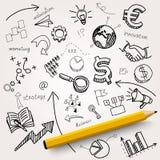 Hand gezeichnete Geschäfts-Ikonen Lizenzfreies Stockfoto