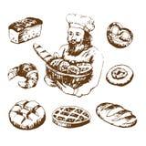 Hand gezeichnete gesetzte Bäckereiillustrationen Bäcker mit frischem Brot Lizenzfreie Stockfotos