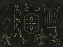 Hand gezeichnete gesetzte Golfclubsammlung Stockfotografie