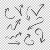Hand gezeichnete gesetzte Ikone des Pfeiles Sammlung Bleistiftskizzensymbole Stockbilder