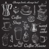 Hand gezeichnete gesetzte Kaffee-Vektorillustration Lizenzfreies Stockbild