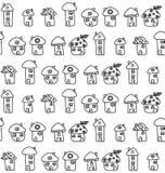 Hand gezeichnete Häuser. Nahtloses Muster. Kindisch Lizenzfreie Stockfotografie